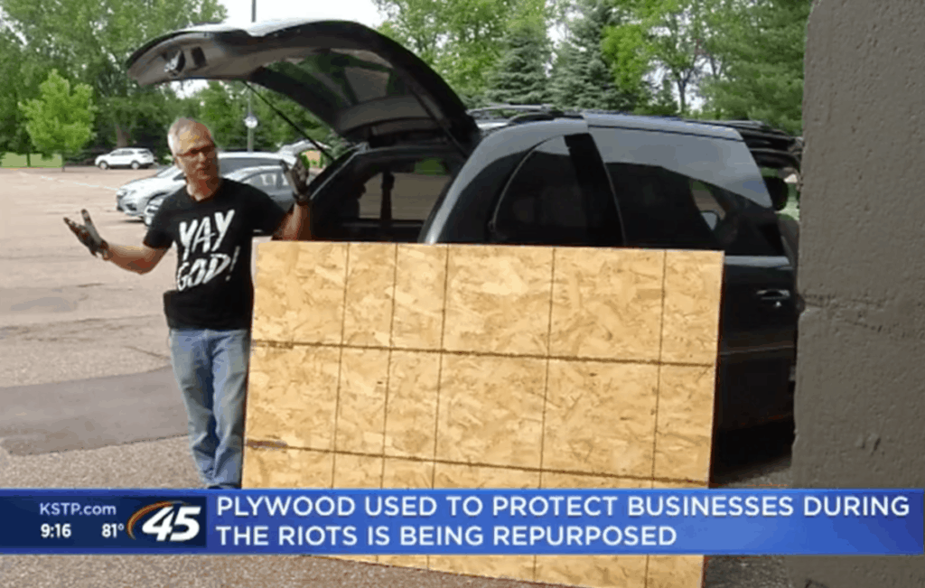 plywood used during riots